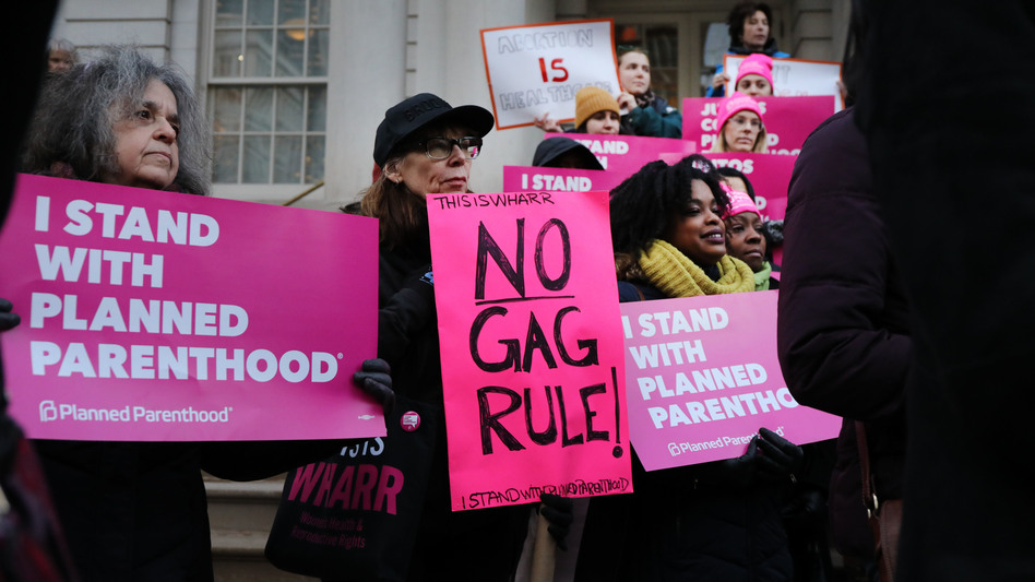 Abortion-rights activists gathered for a news conference in New York City Monday to protest the Trump administration's proposed restrictions on family planning providers. The rule would force any medical provider receiving federal assistance to refuse to promote, refer for, perform or support abortion as a method of family planning. (Spencer Platt/Getty Images)