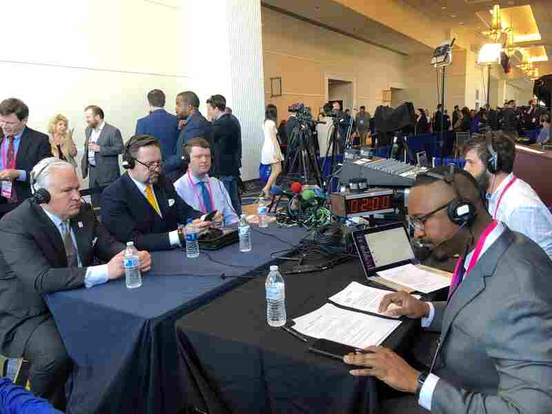 (L-R) Matt Schlapp, Sebastian Gorka and Jim Antle prepare to speak with 1A's Joshua Johnson at the 2019 CPAC.