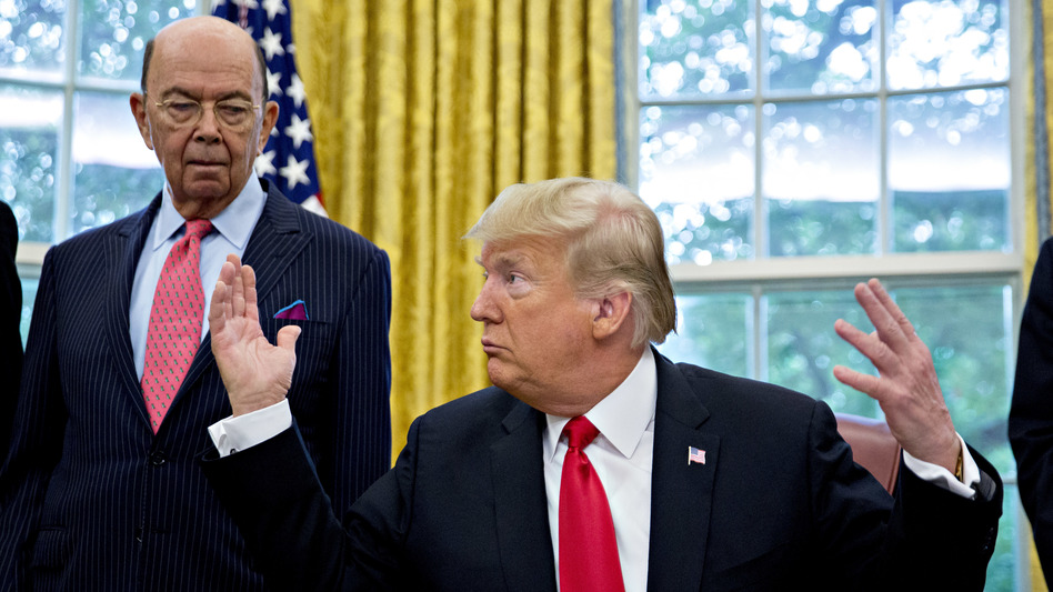 """Commerce Secretary Wilbur Ross, with President Trump at the White House in 2018,  approved adding to the 2020 census a question asking, """"Is this person a citizen of the United States?"""" (Andrew Harrer/Bloomberg via Getty Images)"""