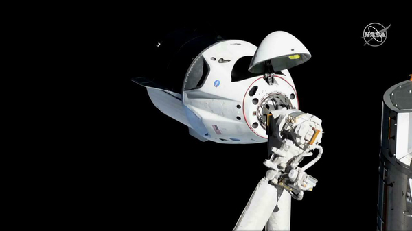 In this photo provided by NASA, the SpaceX Crew Dragon is pictured just beside the International Space Station. SpaceX