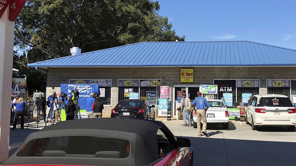 The KC Mart in Simpsonville, S.C., after it was announced the winning $1.5 billion Mega Millions lottery ticket was purchased there in October 2018.