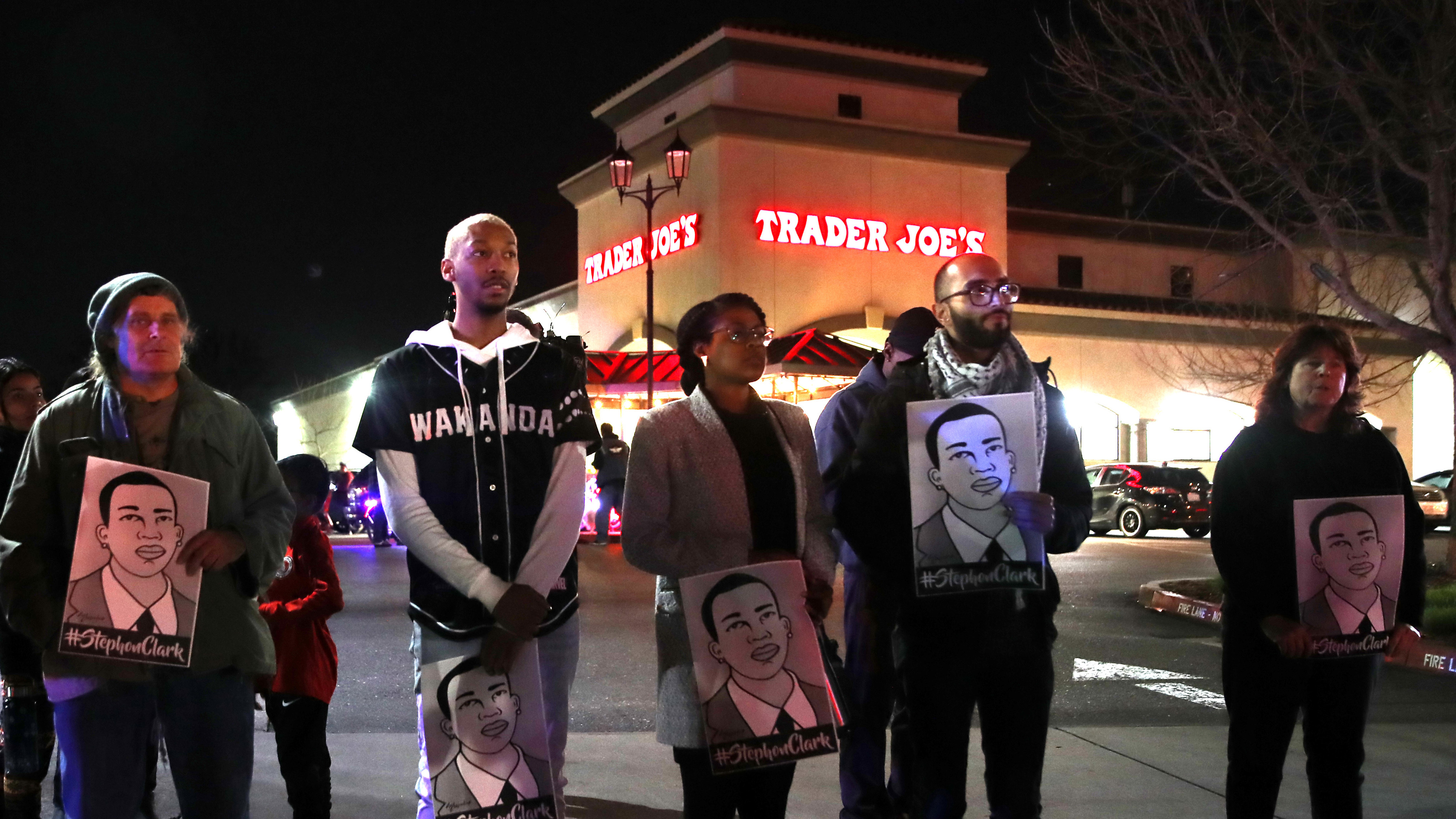 Demonstrators in California took to the East Sacramento streets on Monday to march in protest of the decision to not charge Sacramento police officers who shot and killed Stephon Clark last year.