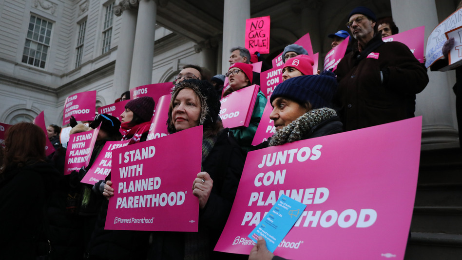 Abortion-rights activists, politicians and others associated with Planned Parenthood gather for a demonstration against the Trump administration's Title X rule change on Feb. 25 in New York. Multiple lawsuits have been filed opposing the new rule. (Spencer Platt/Getty Images)