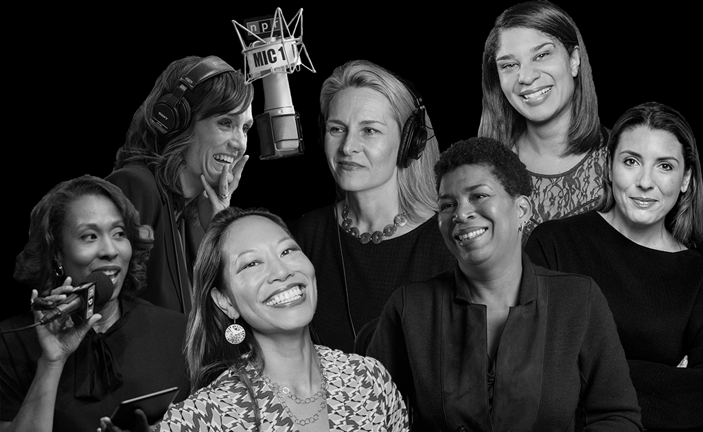A black and white collage of NPR Women who host various shows.