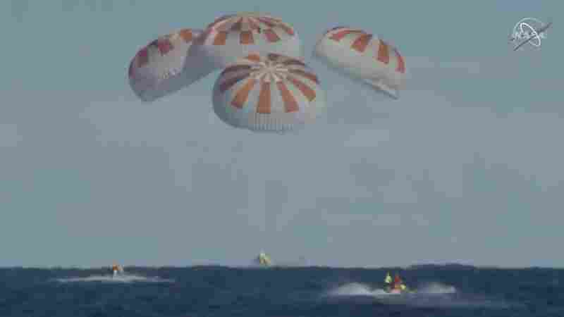 Watch: SpaceX Crew Dragon Splashes Down In Atlantic Ocean