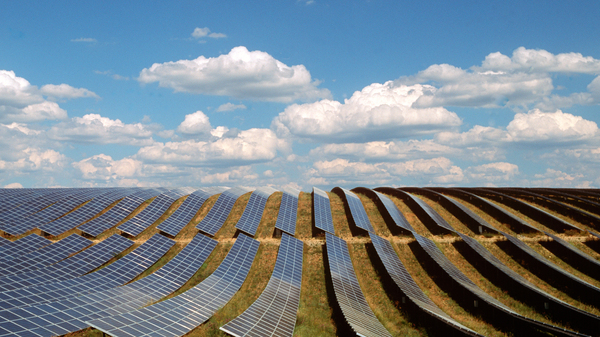 Solar panels fill a field in Provence-Alpes-Cote d