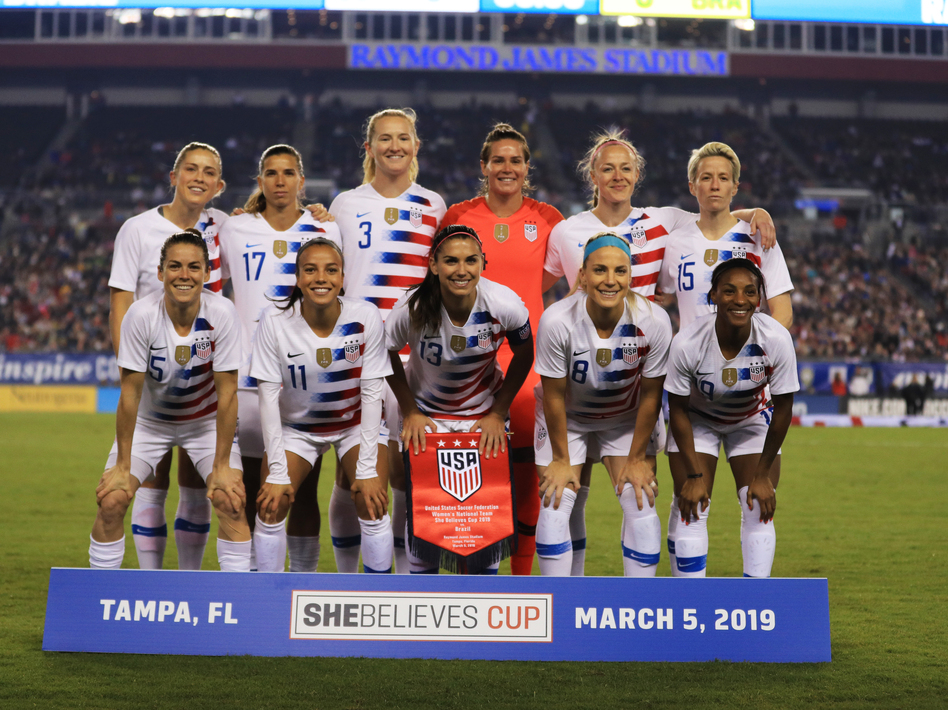 The members of the U.S. women's national soccer team filed a lawsuit Friday against U.S. Soccer, accusing it of gender discrimination. The starting 11 are seen here before playing Brazil earlier this week in Tampa, Fla. (Mike Ehrmann/Getty Images)