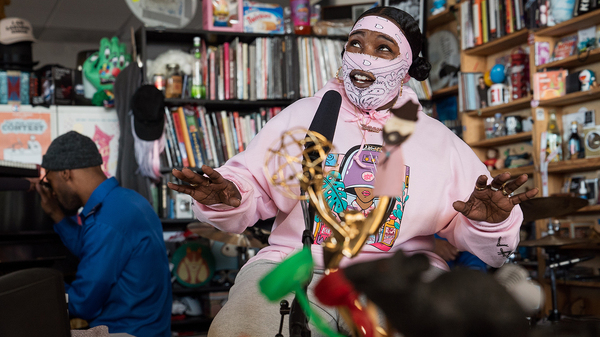 Leikeli47 performs a Tiny Desk Concert on Feb. 8, 2019 (Amr Alfiky/NPR).