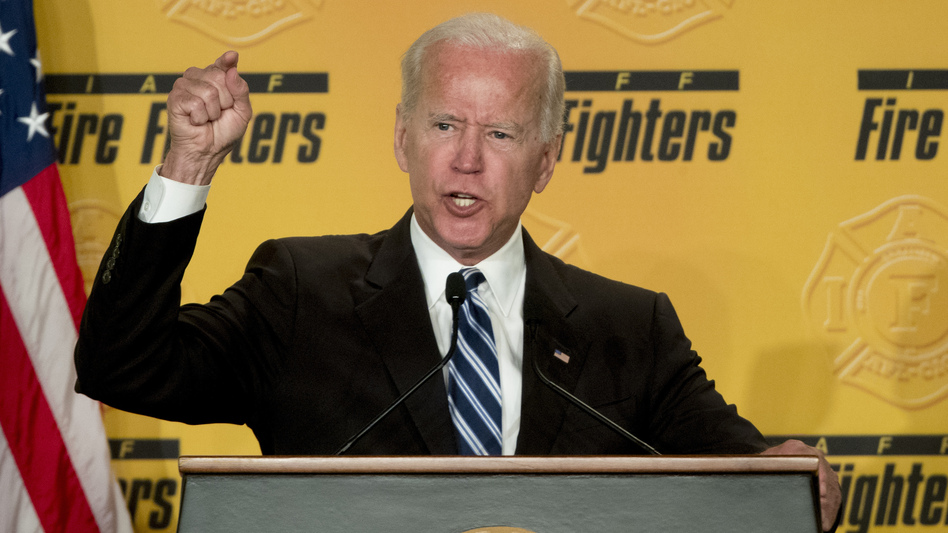 Former Vice President Joe Biden speaks to the International Association of Fire Fighters in Washington on Tuesday, amid growing expectations he'll soon announce he's running for president in 2020. (Andrew Harnik/AP)