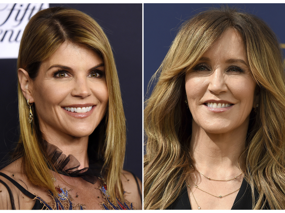 A composite photo shows Lori Loughlin (left) and Felicity Huffman — two actresses charged in what the Justice Department says is a massive cheating scheme that rigged admissions to elite universities. (AP)