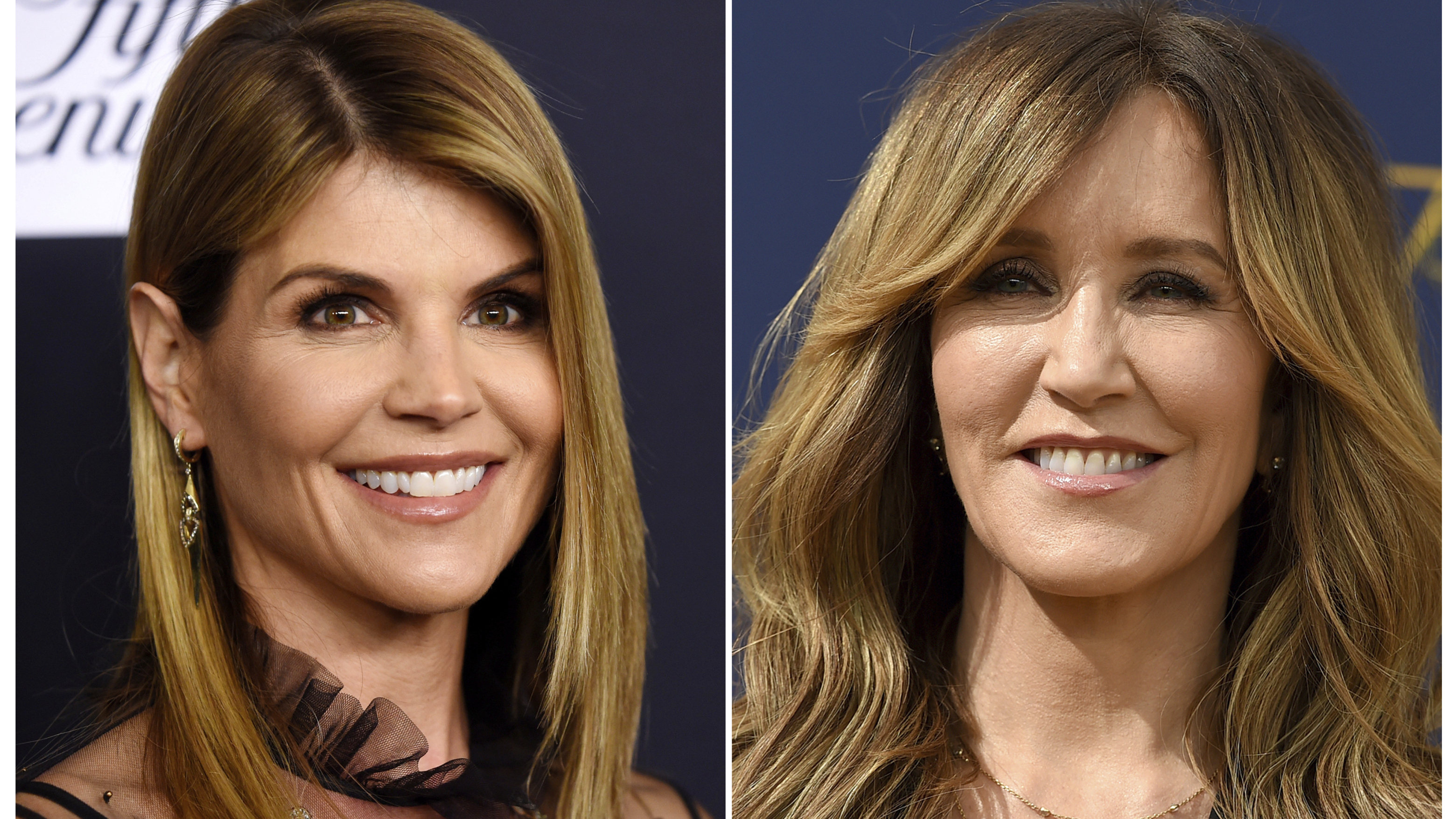 A composite photo shows Lori Loughlin (left) and Felicity Huffman — two actresses charged in what the Justice Department says is a massive cheating scheme that rigged admissions to elite universities.