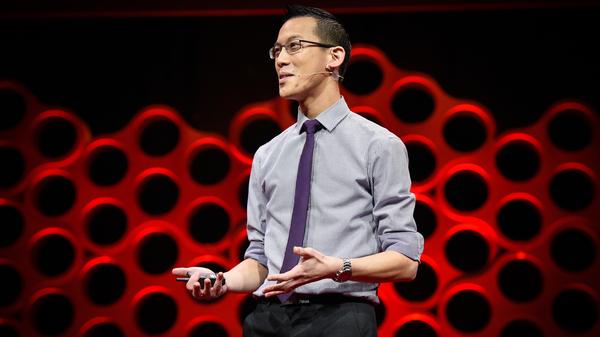Eddie Woo on the TED stage.