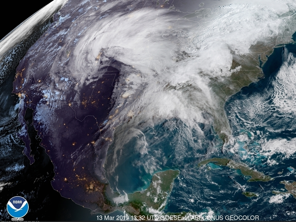 A satellite image from Wednesday morning shows a powerful storm system heading east across the U.S. The storm is expected to bring high winds, snow and rain to much of the central U.S. in the coming days. (GOES-East/NOAA)