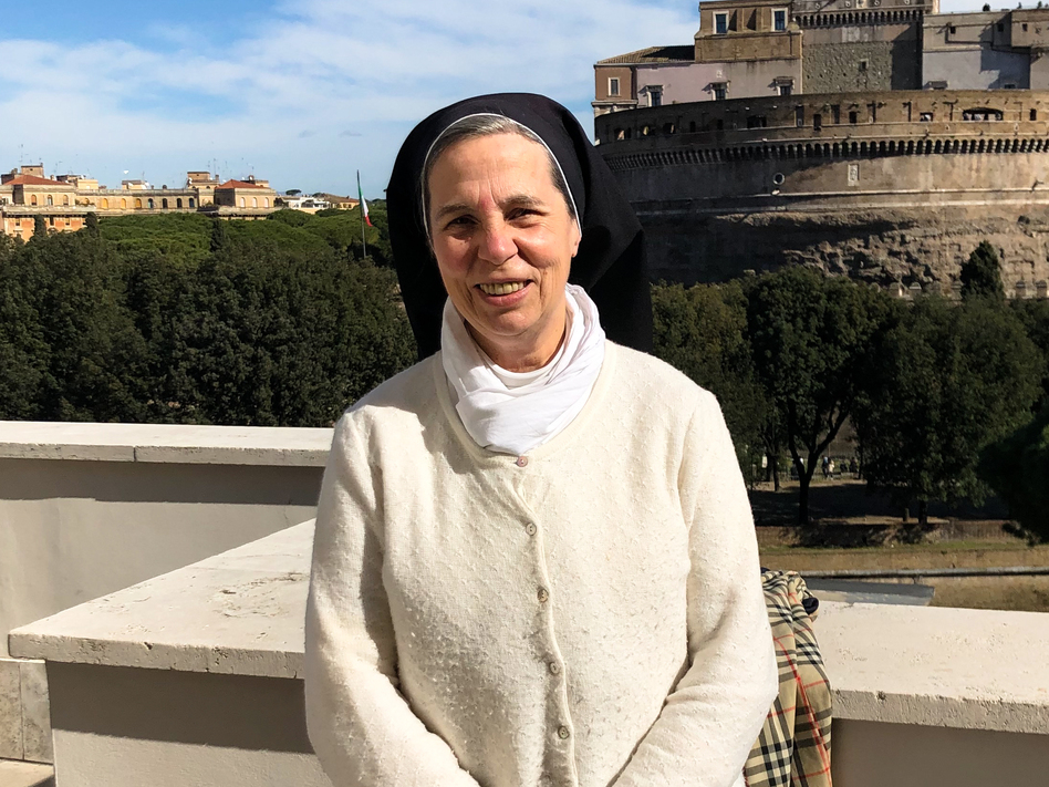 """""""The Vatican is a world of men; some truly are men of God,"""" says Sister Catherine Aubin, a French Dominican nun who teaches at the Pontifical University of St. Thomas in Rome. """"Others have been ruined by power. The key to these secrets and silence is ... abuse of power. They climb up a career staircase toward evil."""" (Sylvia Poggioli/NPR)"""