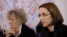 Doris Wagner (right), a former nun, speaks at a news conference on abuse survivors in Rome on Feb. 19.