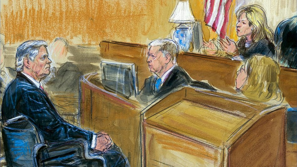 This courtroom sketch shows Paul Manafort listening to Judge Amy Berman Jackson in the U.S. District Courtroom during his sentencing hearing in Washington on Wednesday. (Dana Verkouteren via AP)