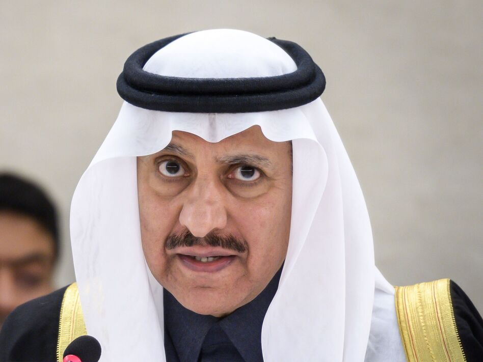President of the Human Rights Commission of Saudi Arabia, Bandar bin Mohammed Al-Aiban, pictured in November, told the UN Human Rights Council on Thursday the accused killers behind Jamal Khashoggi's death are being brought to justice. (Fabrice Coffrini/AFP/Getty Images)