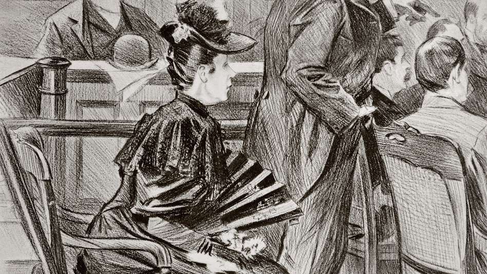 Lizzie Borden is seen in this contemporary drawing at her trial with defense lawyer George D. Robinson.