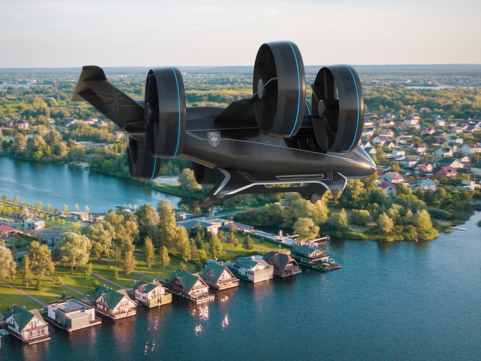 Bell's concept model of a vertical-takeoff-and-landing air taxi vehicle, as unveiled in January at CES (the Consumer Electronics Show) in Las Vegas. (Bell)