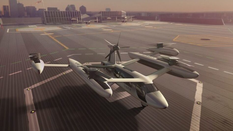 An illustration of a concept model of Uber's all-electric, vertical takeoff and landing aircraft.