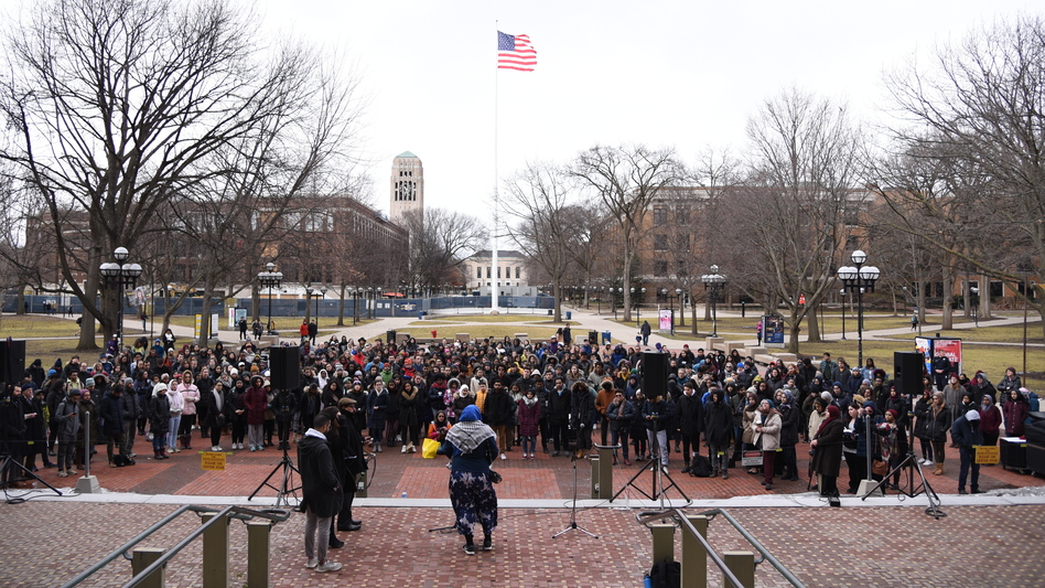 An interfaith vigil, offering prayers and support for the Muslim community, begins at the University of Michigan in Ann Arbor, Mich., on Saturday evening. (Razi Jafri/Michigan Public Radio)