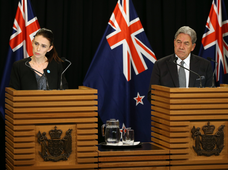 Prime Minister Jacinda Ardern and Deputy Prime Minister Winston Peters speak to media during a press conference at Parliament on Monday. (Hagen Hopkins/Getty Images)