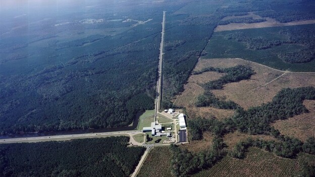 "The Laser Interferometer Gravitational-Wave Observatory is made up of two detectors, this one in Livingston, La., and one near Hanford, Wash. The detectors use giant arms in the shape of an ""L"" to measure tiny ripples in the fabric of the universe."