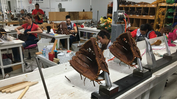 The Nokona baseball glove factory in the small town of Nocona, Texas, is one of the last remaining baseball glove factories in the U.S.
