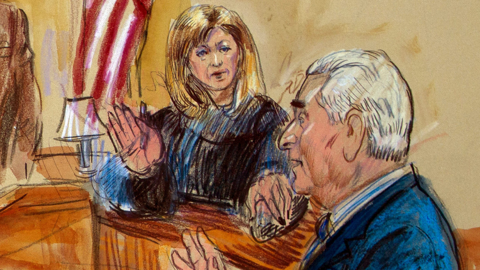 In this sketch, Judge Amy Berman Jackson presides over a court hearing for Trump campaign adviser Roger Stone at the U.S. District Courthouse in Washington, D.C., in February. Jackson is among the women judges playing a central role in the Russia investigation. (Dana Verkouteren/AP)