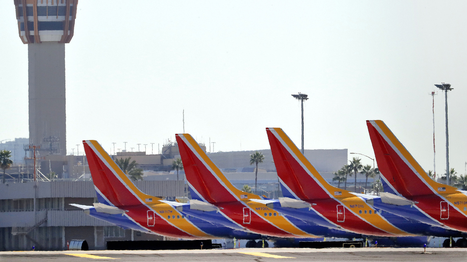 Boeing 737 Max jets are grounded at Sky Harbor International Airport in Phoenix on March 14. (Matt York/AP)