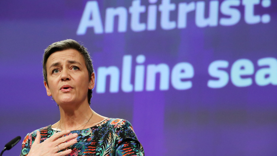 European Commissioner for Competition Margrethe Vestager says Google broke the law for roughly 10 years by restricting how business partners deal with rivals in search advertising. (Yves Herman/Reuters)
