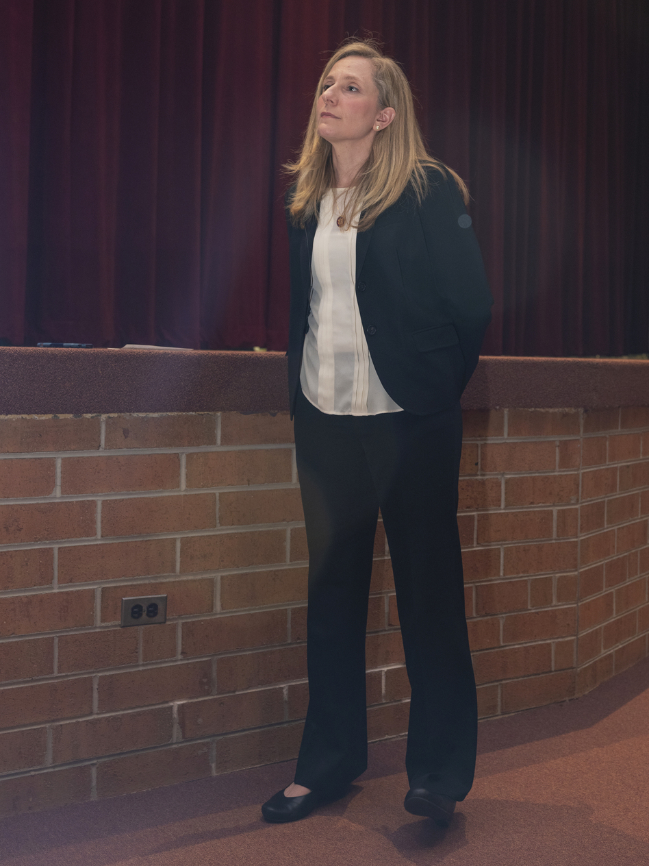 Rep. Abigail Spanberger attends a town hall at Nottoway High School in Crewe, Va. She was one of dozens of new members who ousted Republicans on a pledge to buck party leaders and work across the aisle. (Matt Eich for NPR)