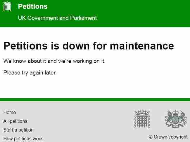 Petition to revoke Brexit crashes UK Parliament's website