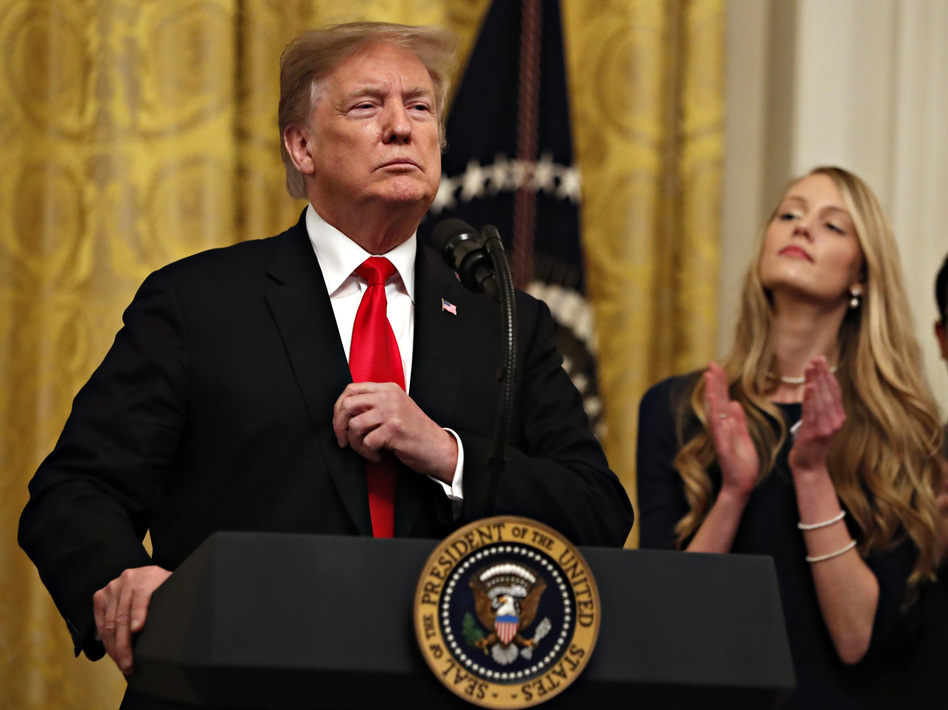 President Trump speaks before signing an executive order Thursday requiring colleges to certify that their policies support free speech as a condition of receiving federal research grants. (Jacquelyn Martin/AP)