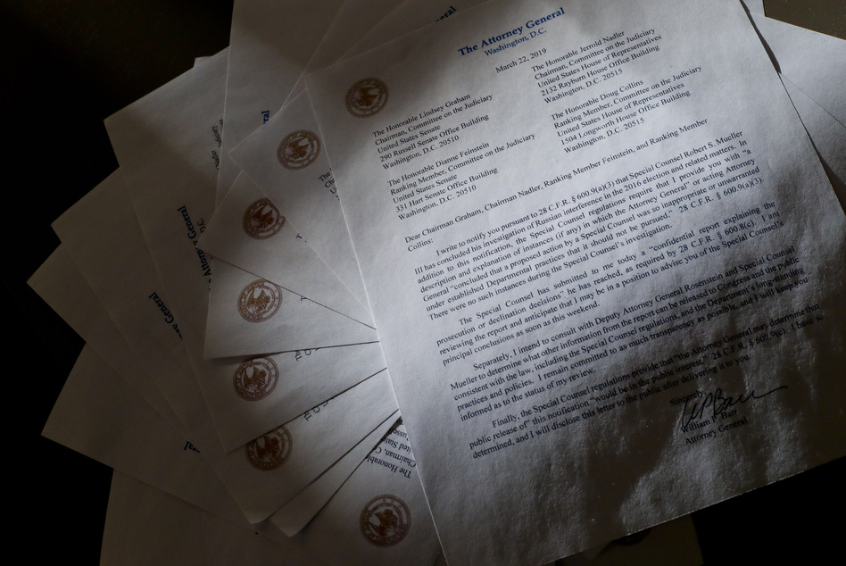 Copies of a letter from Attorney General William Barr advising Congress that Special Counsel Robert Mueller has concluded his investigation. (Pablo Martinez Monsivais/AP)