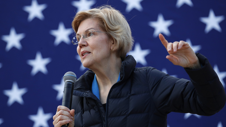 Presidential candidate Sen. Elizabeth Warren, D-Mass., at an organizing event in February. Warren says she wants to get rid of the Electoral College, and vote for president using a national popular vote. (John Locher/AP)