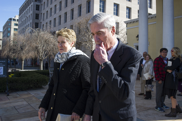 Special counsel Robert Mueller, and his wife Ann, leave St. John's Episcopal Church across from the White House Sunday.