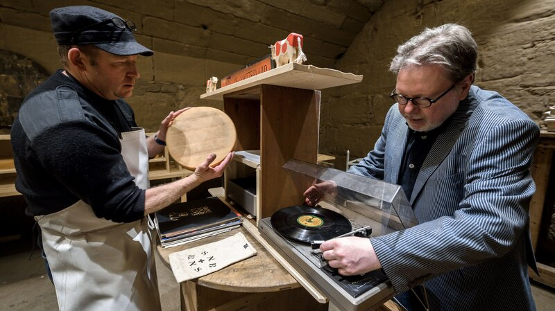 Swiss cheesemakers testing out music with cheese.