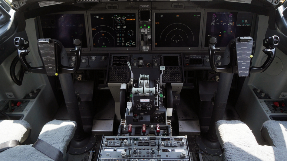 The cockpit of a grounded Lion Air Boeing 737 Max 8 aircraft is seen on March 15.