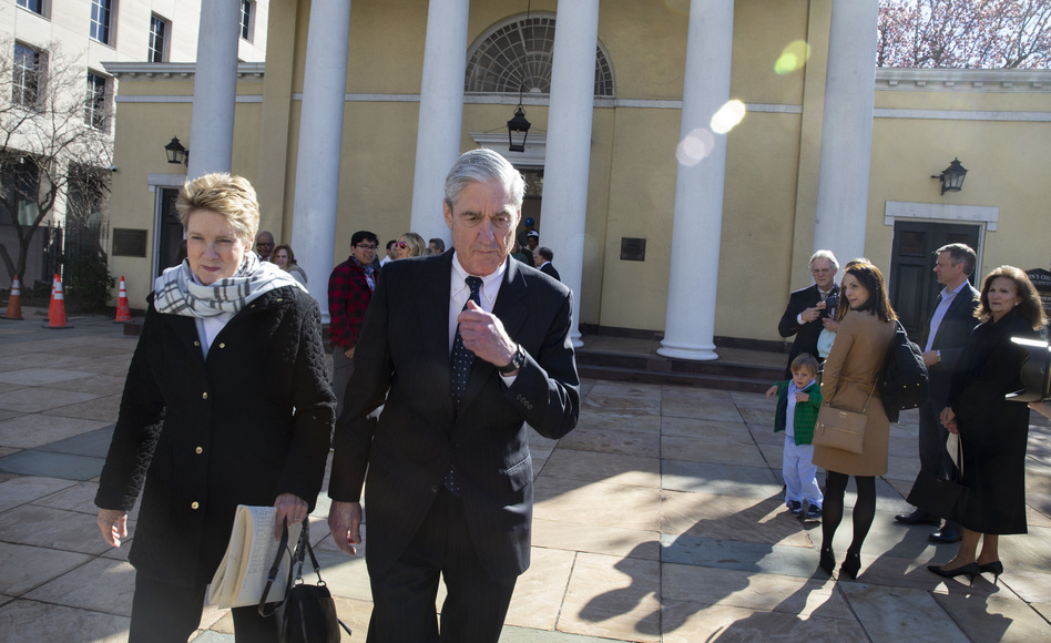 Special counsel Robert Mueller walks with his wife, Ann, in Washington, D.C., on Sunday. The Justice Department is expected to send a summary of his findings to Congress. (Tasos Katopodis/Getty Images)