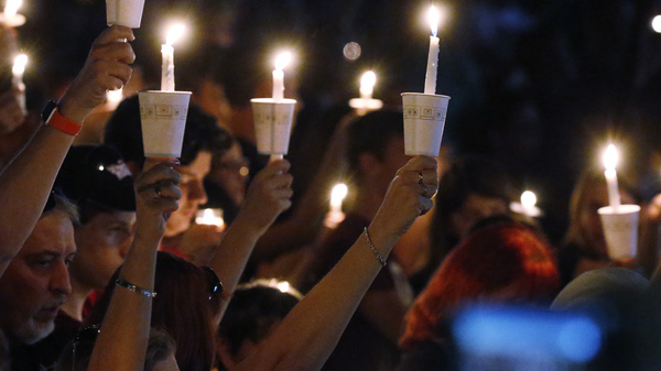 A candlelight vigil was held last year for the victims of the shooting at Marjory Stoneman Douglas High School in Parkland, Fla. Seventeen students died in one of the worst school shootings in U.S. history.