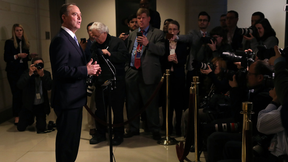 House intelligence committee Chairman Adam Schiff, D-Calif., speaks to the media after Michael Cohen, former personal attorney and fixer for President Trump, appeared before a closed-door hearing of the committee at the U.S. Capitol on March 6 in Washington, D.C. (Mark Wilson/Getty Images)