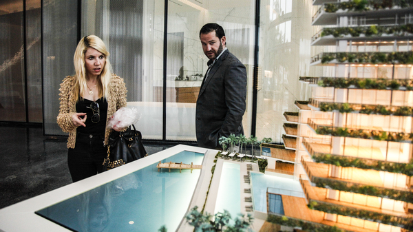MIAMI, FL — TUESDAY, MARCH 19, 2019-- Interested buyers view the live model of Monad Terrace Luxury Development, a luxury high rise in an area of heavy infrastructural investment to protect their building from sea level rise and hurricanes Tuesday, March 19, 2019.