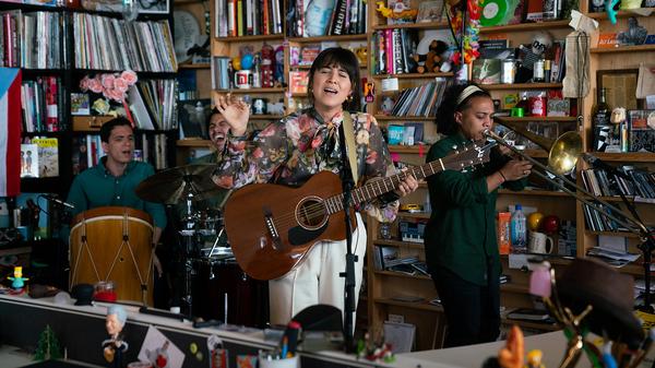 Andrea Cruz performs a Tiny Desk Concert on Feb. 4, 2019 (Claire Harbage/NPR).
