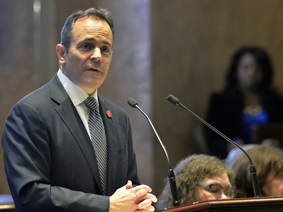 Kentucky Gov. Matt Bevin, a Republican, speaks to state legislators in 2018. Bevin, who is running for re-election this fall, asked the federal government to impose work requirements on many people who receive Medicaid. Bevin's predecessor, a Democrat, did not seek these requirements when he expanded the program under the Affordable Care Act. (Timothy D. Easley/AP)