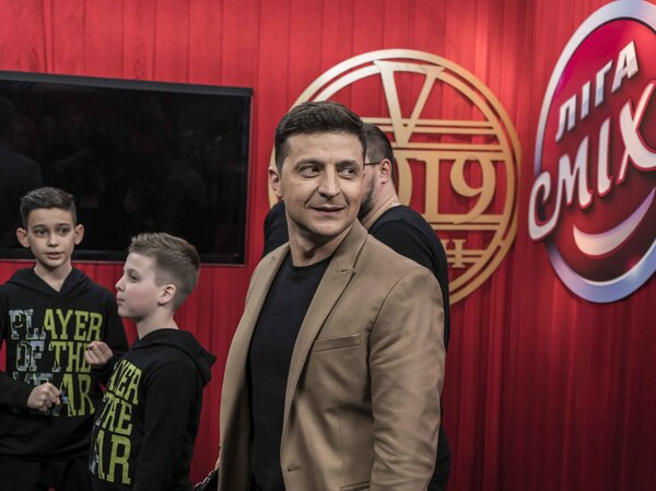 Ukrainian presidential candidate Volodymyr Zelenskiy walks backstage during the filming of the League of Laughter comedy show on March 19 in Kiev, Ukraine.