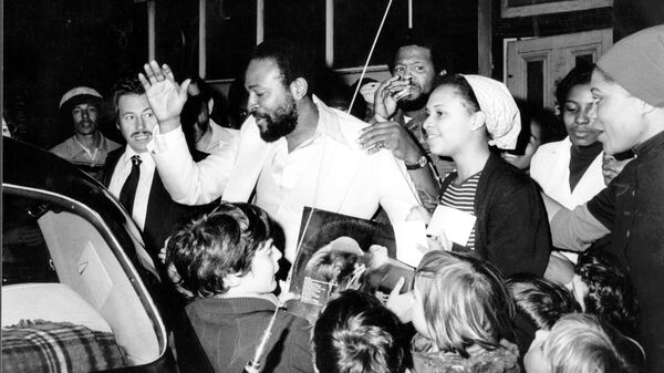 Marvin Gaye (and admirers) in London in the mid-1970s.