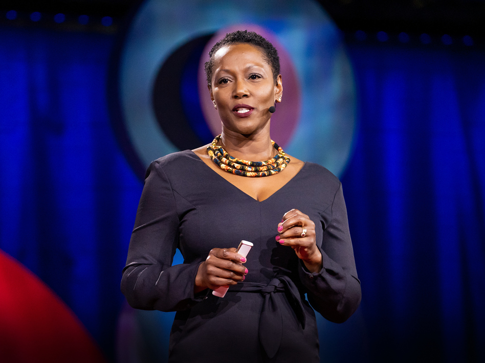 Monique Morris on the TED stage. (Marla Aufmuth/TED)