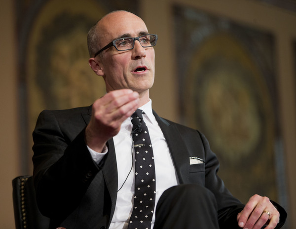 Arthur Brooks, seen speaking at Georgetown University in 2015, has a new book called Love Your Enemies: How Decent People Can Save America from the Culture of Contempt.