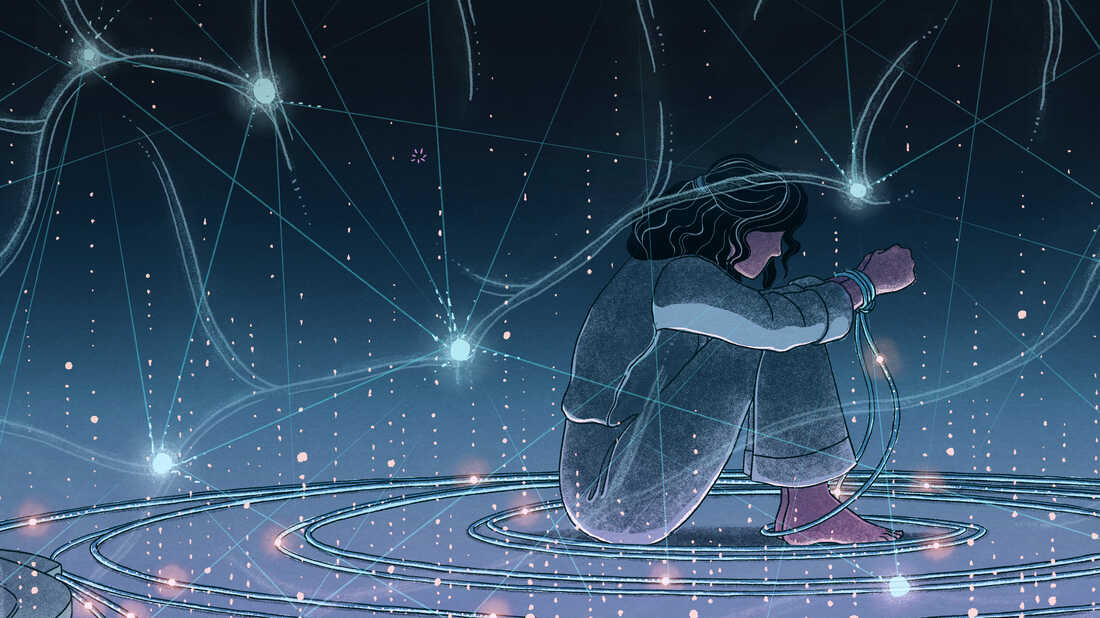 Depressed person and an image of neural networks in brain.
